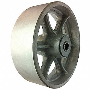 "6"" Caster Wheel, 1200 lb. Load Rating, Wheel Width 2"", Cast Iron, Fits Axle Dia. 1/2"""