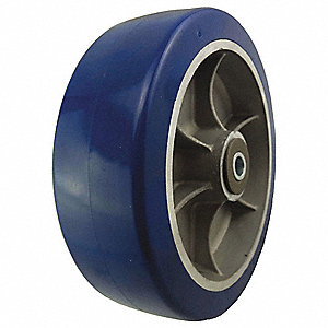 "8"" Caster Wheel, 1750 lb. Load Rating, Wheel Width 2-1/2"", Polyurethane, Fits Axle Dia. 1/2"""