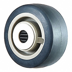 "4"" Caster Wheel, 300 lb. Load Rating, Wheel Width 2"", Rubber, Fits Axle Dia. 1/2"""