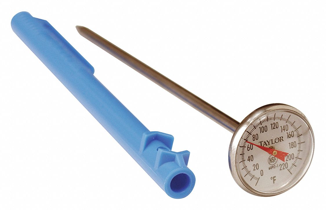 Item Dial Pocket Thermometer,  Temp. Range (F) 0 to 220°F,  Stem Length 5 in