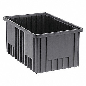 "ESD Conductive Divider Box, 16-1/2"" Outside Length, 10-7/8"" Outside Width, 8"" Outside Height"