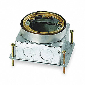 "Floor Box, 3-5/8"" Height, 4-1/4"" Length, 4-11/16"" Width, 60.0 cu. in. Capacity, Opening Shape: Round"
