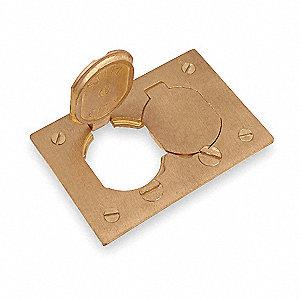 steel city floor box cover, brass, shape: rectangular, 4-1/2