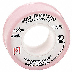 "1/2""W PTFE Thread Sealant Tape, Pink, 260"" Length"