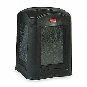 35 gal. Square Black Trash Can