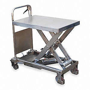 "27-1/2""L x 17-1/2""W Fixed Stainless Steel Scissor Lift Cart, 400 lb. Load Capacity"