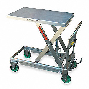 "31-1/4""L x 19-1/2""W Fixed Stainless Steel Scissor Lift Cart, 550 lb. Load Capacity"