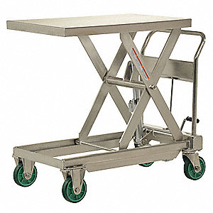 "35-1/2""L x 23-1/2""W Fixed Stainless Steel Scissor Lift Cart, 1100 lb. Load Capacity"