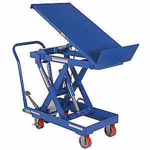 Mobile Manual Lift, Manual Push Scissor Lift Table, 500 Lb. Load Capacity,