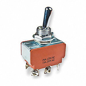 Toggle Switch, Number of Connections: 6, Switch Function: Momentary On/Off/Momentary On