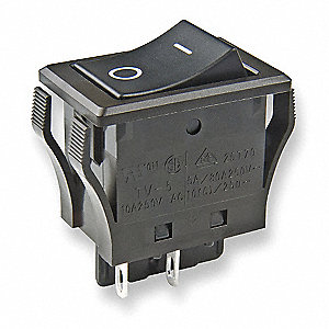"Rocker Switch, Contact Form: DPST, Number of Connections: 4, Terminals: 0.110"" Solder Lug"