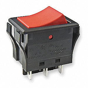 "Rocker Switch, Contact Form: DPDT, Number of Connections: 6, Terminals: 0.187"" Solder Lug"