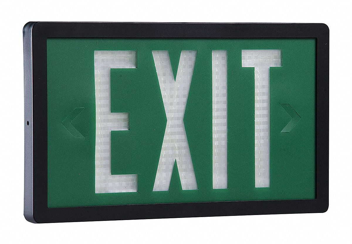 1 Face Self-Luminous Exit Sign, Green Background Color, Black Frame Color, 10 yr Life Expectancy
