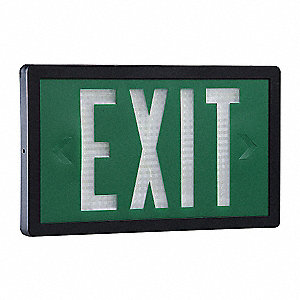 ABS Self-Luminous Exit Sign, Green Background Color, 10 yr. Life Expectancy