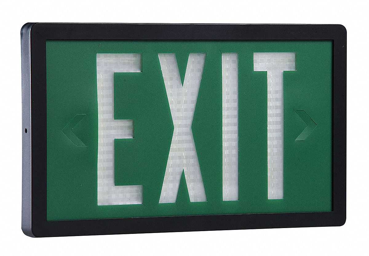1 Face Self-Luminous Exit Sign, Green Background Color, Black Frame Color, 20 yr Life Expectancy