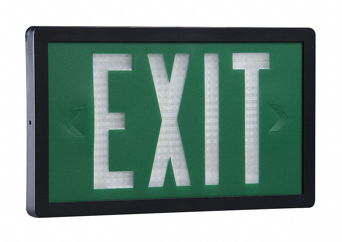 2 Face Self-Luminous Exit Sign, Green Background Color, Black Frame Color, 10 yr Life Expectancy