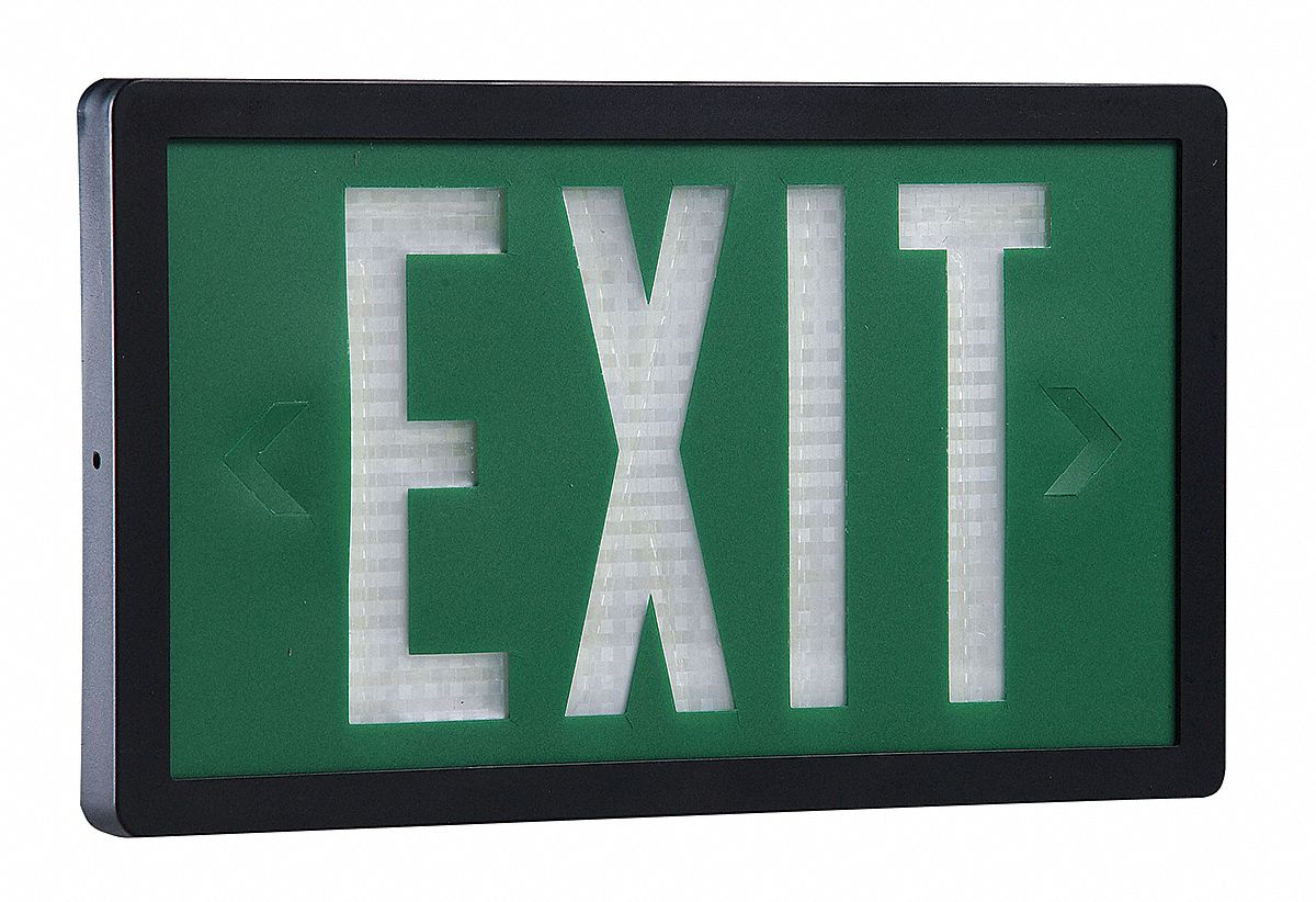 2 Face Self-Luminous Exit Sign, Green Background Color, Black Frame Color, 20 yr Life Expectancy