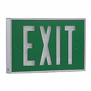 Aluminum Self-Luminous Exit Sign, Green Background Color, 10 yr. Life Expectancy