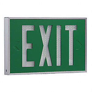 Aluminum Self-Luminous Exit Sign, Green Background Color, 20 yr. Life Expectancy
