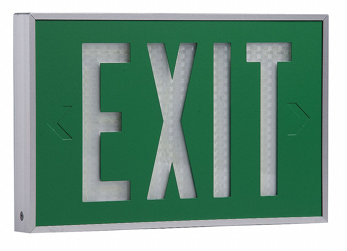 2 Face Self-Luminous Exit Sign, Green Background Color, White Frame Color, 20 yr Life Expectancy