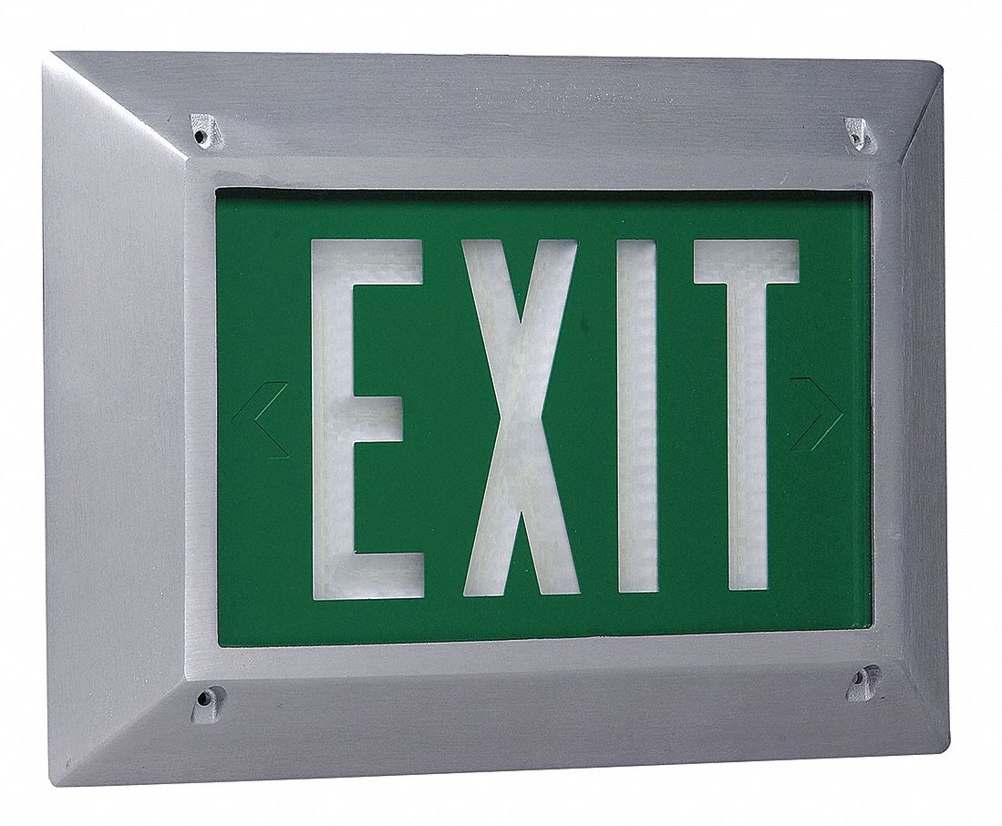 1 Face Self-Luminous Exit Sign, Green Background Color, White Frame Color, 10 yr Life Expectancy