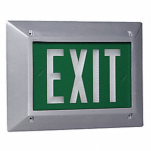 1 Face Self-Luminous Exit Sign, Green Background Color, White Frame Color, 10 yr. Life Expectancy
