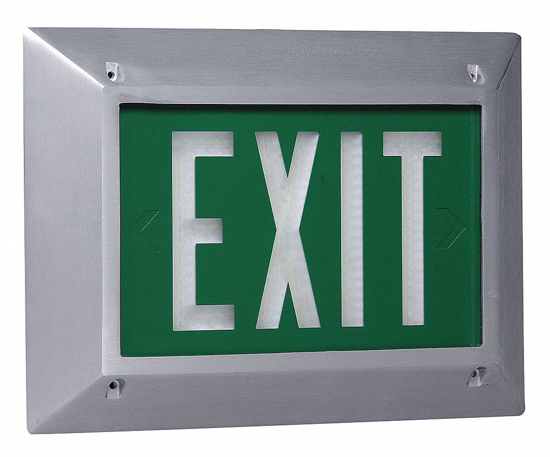 1 Face Self-Luminous Exit Sign, Green Background Color, White Frame Color, 20 yr Life Expectancy