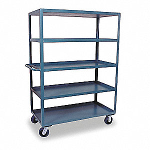 Stock Cart, 3000 lb. Load Capacity, (2) Rigid, (2) Swivel Caster Type, Welded Steel