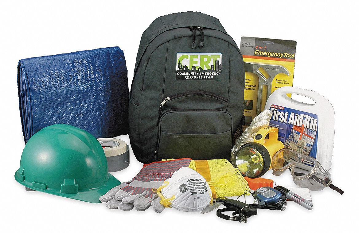 C.E.R.T. Backpack Kit,  Number of Components 19,  People Served 1,  Green,  16 in Height