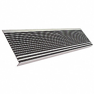 "Black, Extruded Aluminum Stair Tread Cover, Installation Method: Fasteners, Beveled Edge Type, 42"" W"