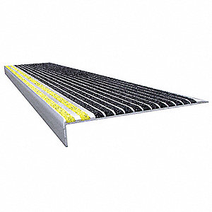 Black with Safety Yellow Front, Extruded Aluminum Stair Tread Cover, Installation Method: Fasteners,