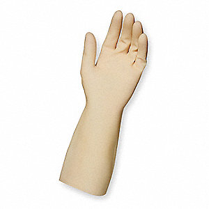 "14"" Powder Free Unlined Textured Tri-Polymer Cleanroom Gloves, Natural, Size  11, 72PK"