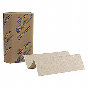 "Envision® 1-Ply Multifold Paper Towel Sheets, 9-3/16"" x 9-3/8"", Brown, 16PK"