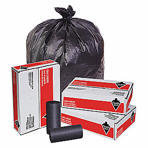38 gal. HDPE Heavy Trash Bags, Coreless Roll, Black, 250PK