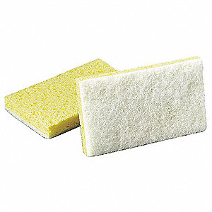 "6"" x 3-5/8"" Cellulose, Synthetic Fiber Scrubber Sponge, White, Yellow, 20PK"