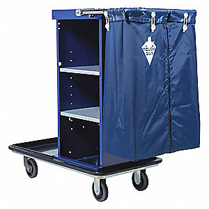 "38""L x 20-1/4""W x 40""H Blue Housekeeping Cart, Number of Shelves: 3"