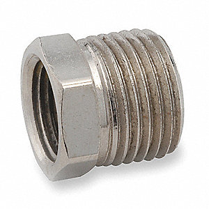 "Chrome Plated Brass Hex Bushing, FNPT x MNPT, 3/8"" x 1/4"" Pipe Size"