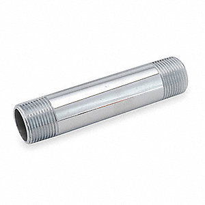 "3/8"" x 5"" Chrome Plated Brass Pipe Nipple, Pipe, Fitting, Nipple, Threaded Both Ends"
