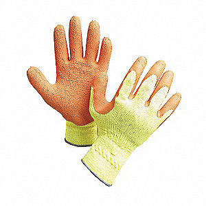 Natural Rubber Latex Cut Resistant Gloves, ANSI/ISEA Cut Level 2, Cotton Lining, Yellow/Orange, XL,