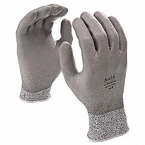 Polyurethane Cut Resistant Gloves, ANSI/ISEA Cut Level 2, High-Density Polyethylene Lining, Gray, S,