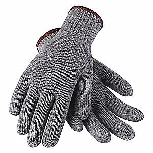 Gray Lightweight Knit Gloves, Polyester/Cotton, Size L, 7 Gauge