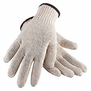 Natural Knit Gloves, Cotton, Size XL, 7 Gauge