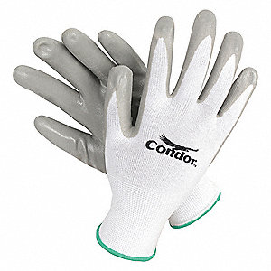 13 Gauge Smooth Nitrile Coated Gloves, Size 2XL, White/Gray