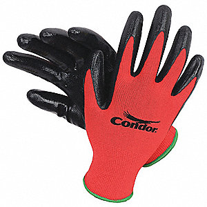 13 Gauge Smooth Nitrile Coated Gloves, Glove Size: 2XL, Red/Black