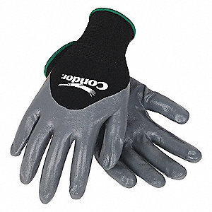 Nitrile Coated Gloves, Black/Gray