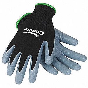 13 Gauge Coated Gloves, Black/Gray