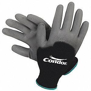 13 Gauge Smooth Polyurethane Coated Gloves, Glove Size: M, Black/Gray
