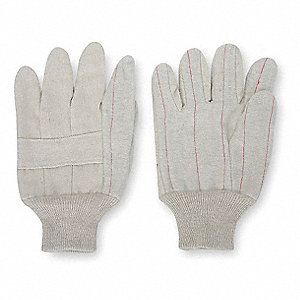Canvas Gloves, Cotton/Polyester Material, Knit Wrist Cuff, Natural, Glove Size: L