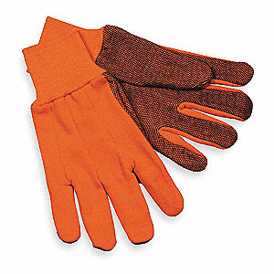 Jersey Gloves, Cotton/Polyester Material, Knit Wrist Cuff, High Visibility Orange, Glove Size: L