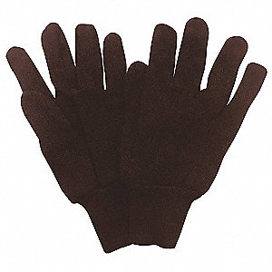 Jersey Gloves, Cotton/Polyester Material, Knit Wrist Cuff, Dark Brown, Glove Size: L